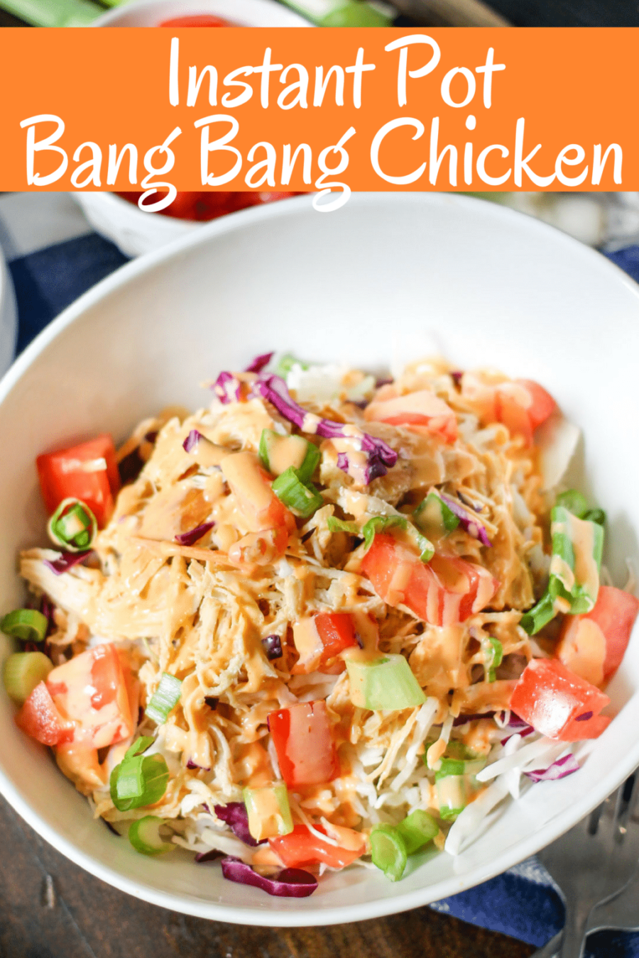 Instant Pot Bang Bang Chicken comes together in minutes and is so delicious! The classic spicy sauce is perfect on shredded chicken which can be used in rice bowls, salads, wraps, or however you want!