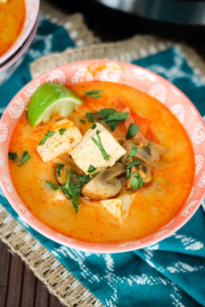 Instant Pot Thai Coconut Soup is a delicious, comforting vegetarian Thai recipe which takes less than 10 minutes to cook! Includes tofu or chicken options!