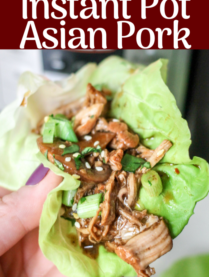 This Instant Pot Asian Pork recipe cooks up in just minutes, and is the perfect healthy dinner! Use the juicy meat in lettuce wraps, sliders, or a salad!