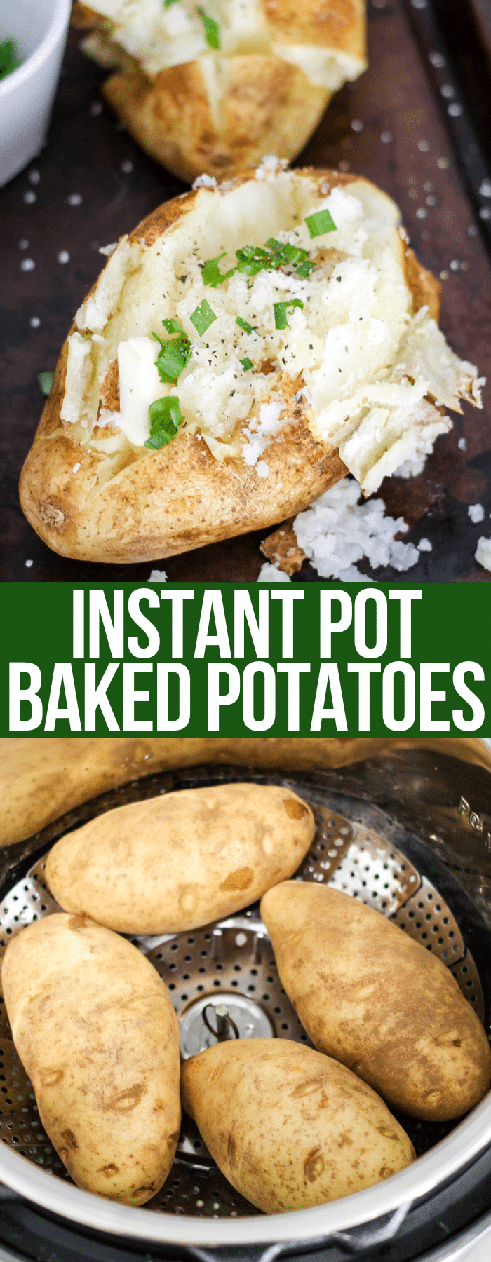 Instant Pot Baked Potatoes are done in a fraction of the time as traditional baked potatoes, and are the creamiest baked potatoes you will ever eat!
