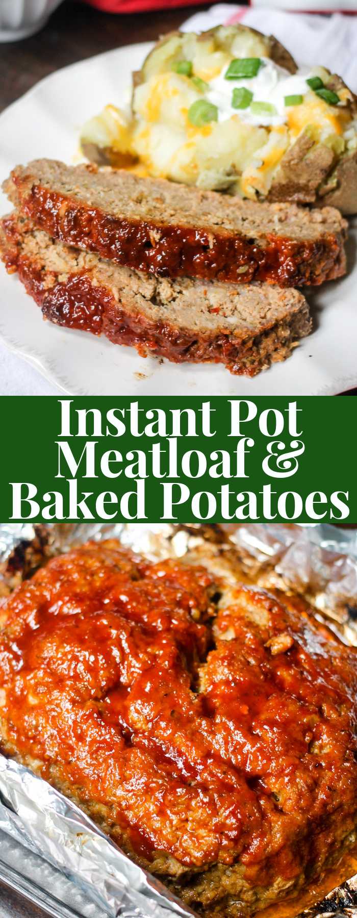 Instant Pot Meatloaf and Baked Potatoes is a set it and forget it family meal! Makes life way easier, and the meatloaf is the moistest you will ever try!