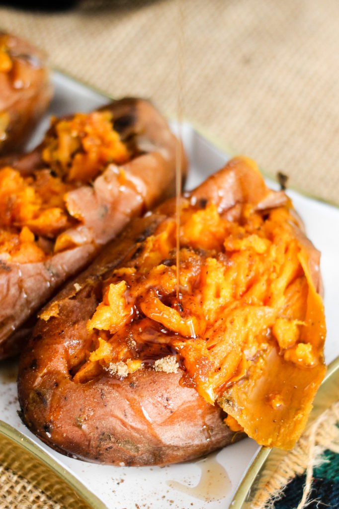 Instant Pot Sweet Potatoes are the perfect easy side dish! Save time using the Instant Pot, and load them up with your favorite toppings for a healthy meal!