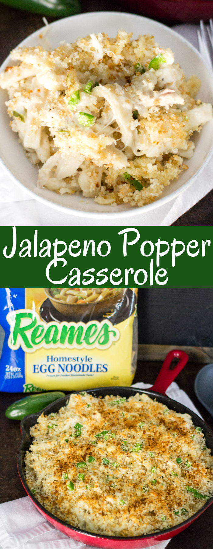 Jalapeno Popper Casserole is full of delicious Reames egg noodles, chicken, cheese, and jalapenos, then topped with a crunchy topping! This will be a family favorite for years to come!