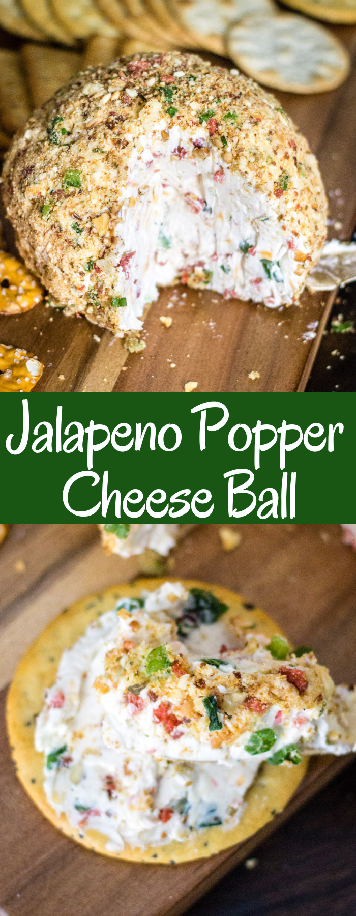 A Jalapeno Popper Cheese Ball is the perfect party appetizer! It's creamy with a little kick and crunch, it's majorly delicious and super easy to make!