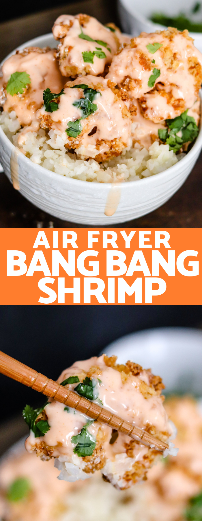 Air Fryer Bang Bang Shrimp are topped with a healthier version of the classic sweet and spicy Bang Bang Sauce; the perfect lightened up appetizer or meal!