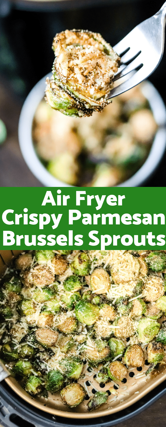Crispy, cheesy, and majorly delicious; these Air Fryer Crispy Parmesan Brussels Sprouts are going to be your new go-to side dish. Only a handful of ingredients and only 132 calories per serving!