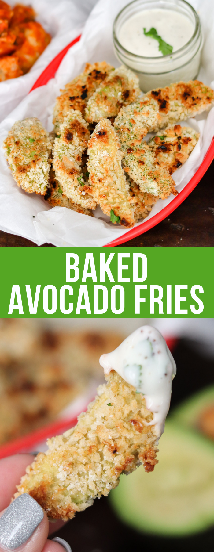 Baked avocado fries are creamy, crunchy, and healthy without any oily mess! They're the perfect health conscious snack, with only a handful of ingredients!
