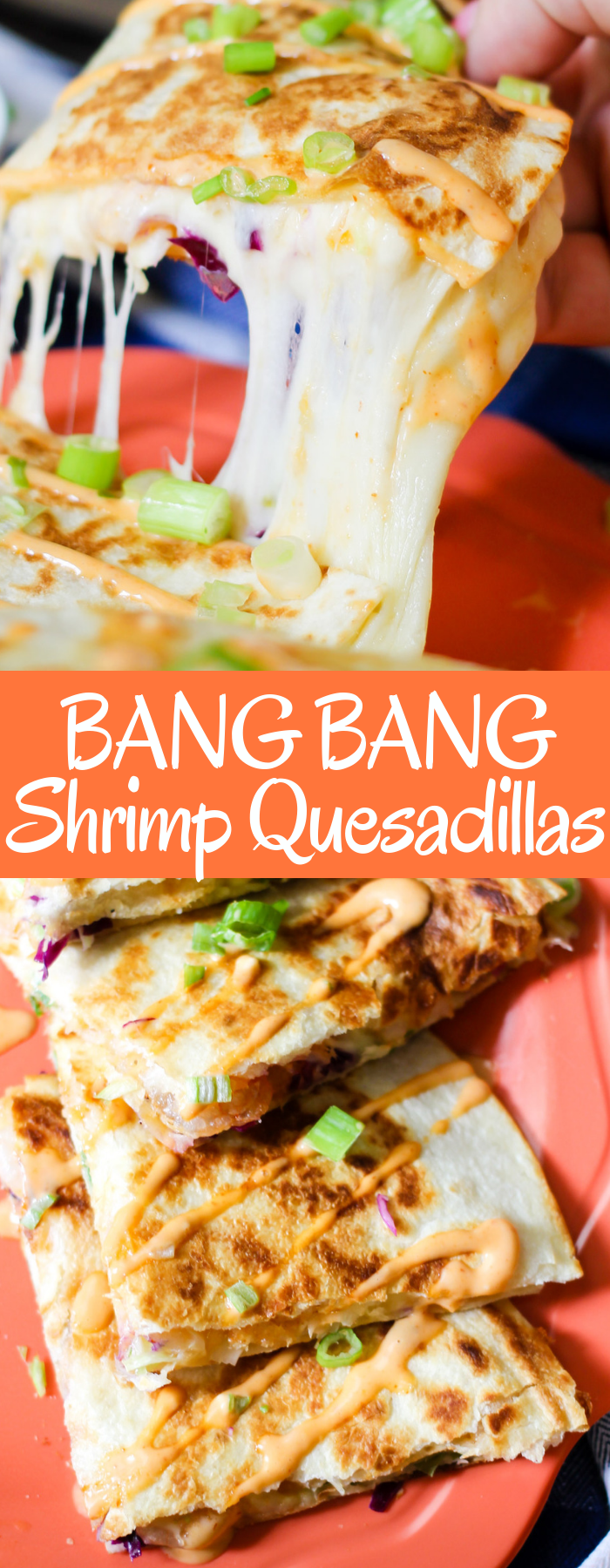 Shrimp, sweet & spicy bang bang sauce, cheese, and slaw all grilled between tortillas make these Bang Bang Shrimp Quesadillas the perfect meal or appetizer!