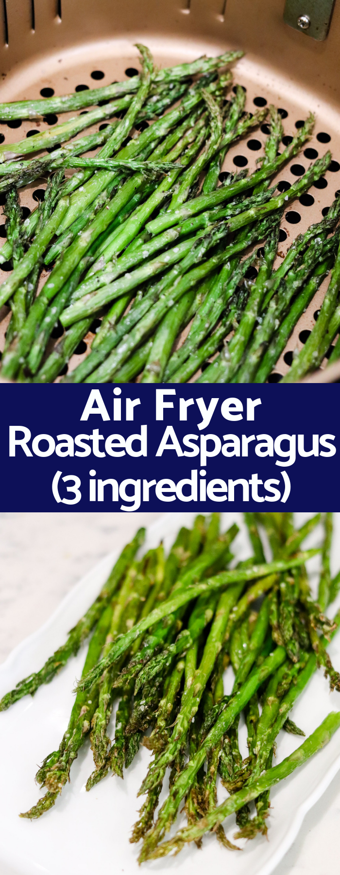 With only 2 ingredients and taking a fraction of the typical time, this Air Fryer Roasted Asparagus will be your favorite way to cook asparagus from now on! KETO, PALEO, Whole30, vegetarian, vegan, and pretty much every diet compliant!