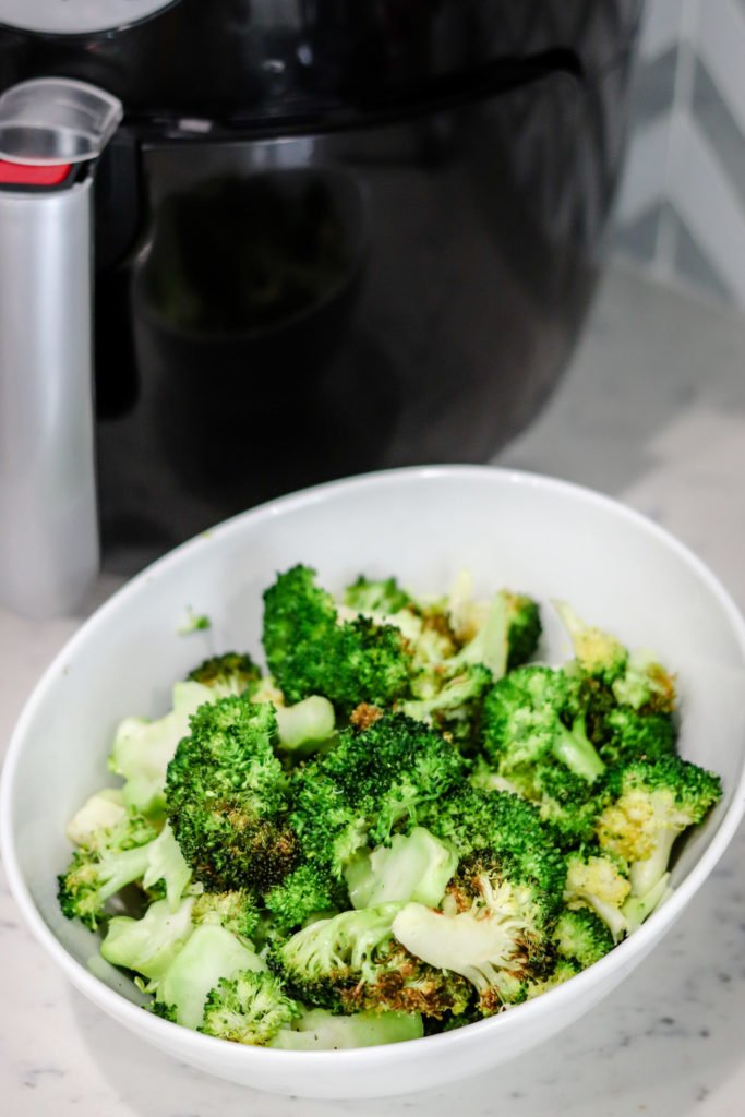 Air Fryer Roasted Broccoli is an incredibly easy, fast, and delicious side dish. With only 61 calories per serving this air fryer roasted broccoli will become a staple side dish!