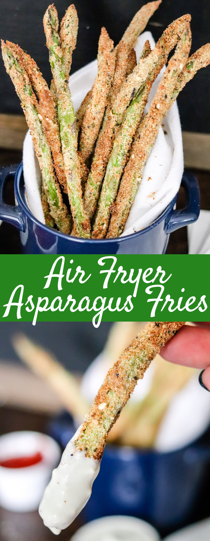 With less than 5 ingredients, NO oil, and done in less than 10 minutes, these Air Fryer Asparagus Fries will become a favorite side dish or snack!
