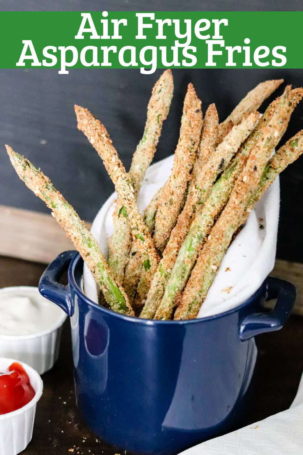 Air Fryer Asparagus fries up close