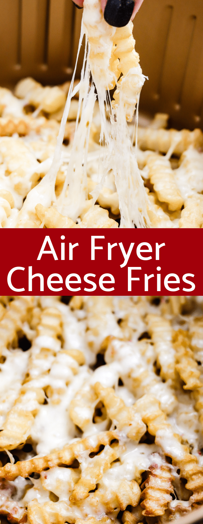 Air Fryer Cheese Fries have only two ingredients and are done in 12 minutes! These quick easy fries will be a go-to appetizer or snack!
