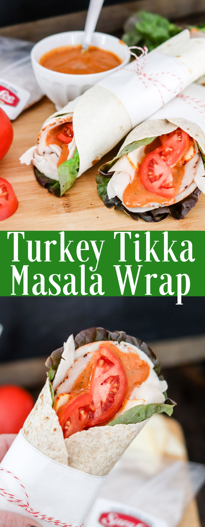 A Turkey Tikka Masala Wrap is a delicious, easy, and quick meal with only a handful of ingredients! Perfect to take on-the-go, or eat at home! Creamy tikka masala sauce over turkey pair perfectly for this wrap!