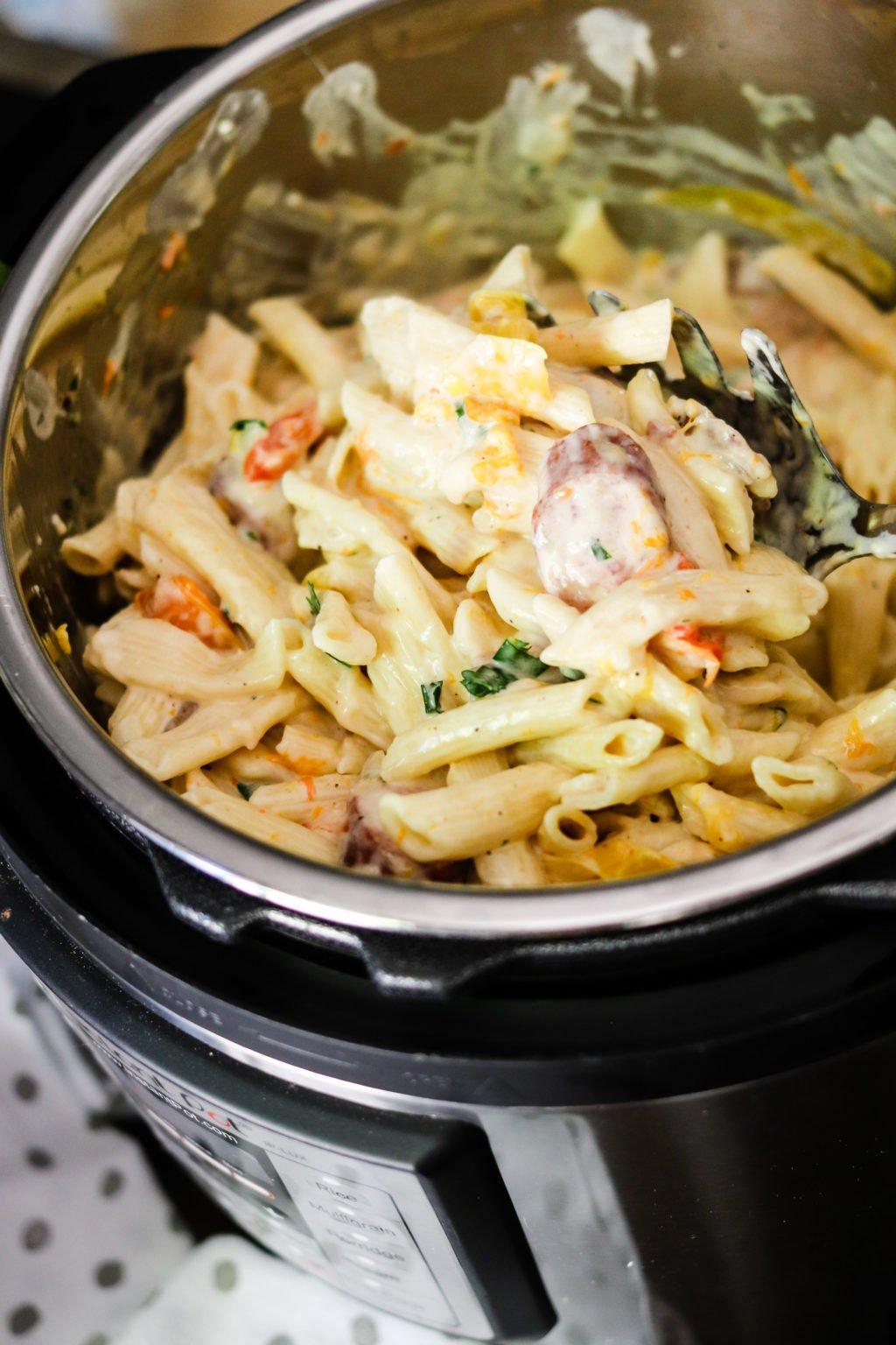 cooked cajun pasta in the instant pot