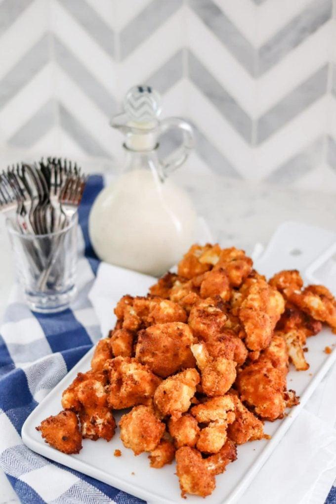 Air Fryer Buffalo Cauliflower Bites served on tray