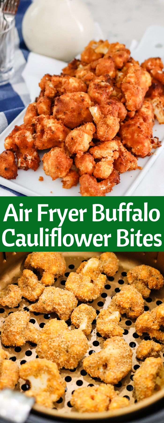 These Crispy Air Fryer Buffalo Cauliflower Bites are the perfect appetizer! With no oil and only a handful of ingredients, they're easy and guilt-free. Also find baking directions on the page if you don't have an air fryer!