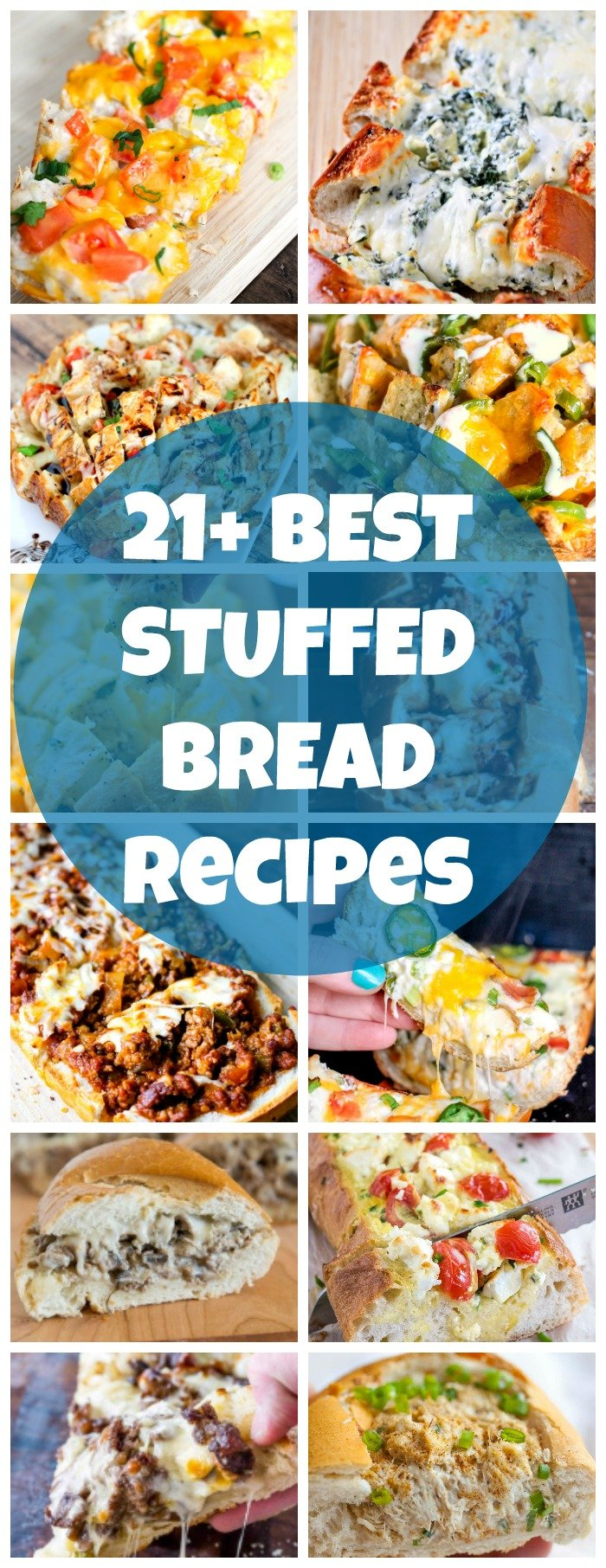 Stuffed bread is so versatile and perfect for meals or appetizers. Whip up a loaf on game-day, for a pot-luck, or just to stay home and enjoy! Here's a list of the BEST STUFFED BREAD RECIPES!