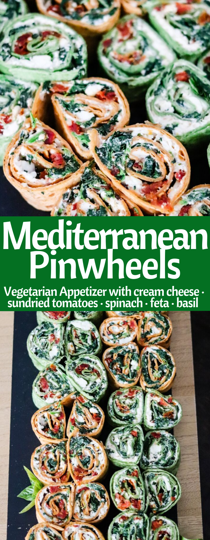 Mediterranean Pinwheels are an easy vegetarian appetizer! Stuffed with 3 cheeses, spinach, sun-dried tomatoes, and fresh basil, they are a HUGE crowd pleaser! - AMAZING RECIPE!!!!