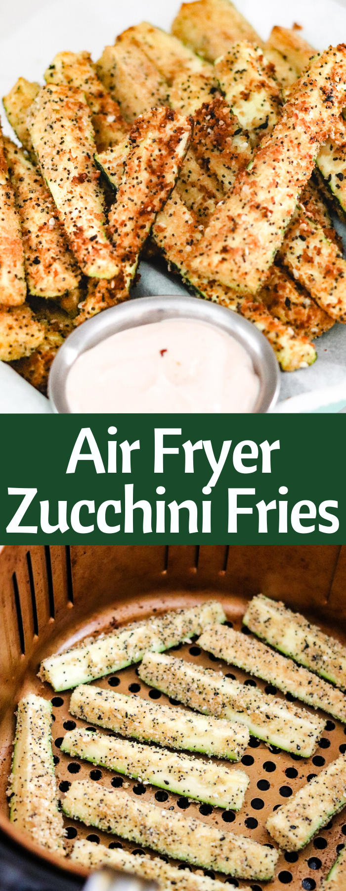 The crispy coating on these Air Fryer Zucchini Fries makes them perfect snack! With no oil and only a handful of ingredients, they're easy and guilt-free with only 121 calories per serving!