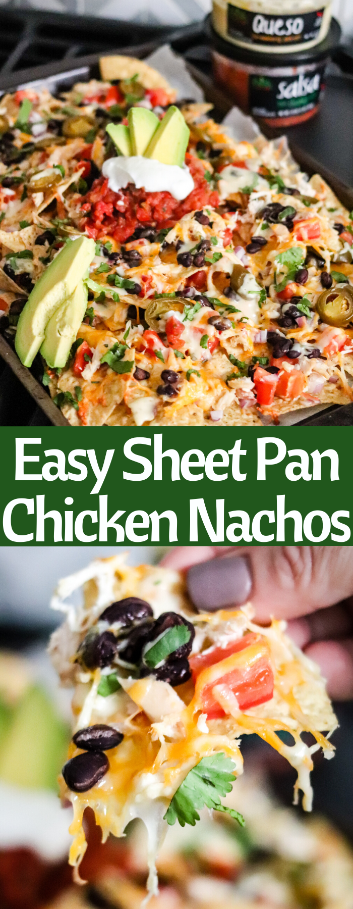 Easy Sheet Pan Nachos are the perfect solution for tailgating, game day, or a quick meal. Layer crunchy tortilla chips with shredded chicken, fresh vegetables, cheese and then top with delicious queso and salsa!