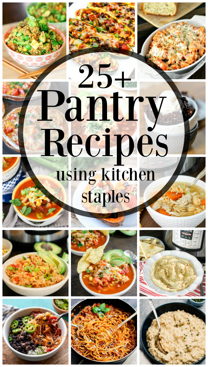 Here are over 25 Pantry Recipes that will help you use up those pantry staples. Shelf stable foods can last a while, and having easy recipes to utilize them can be daunting, but not anymore!