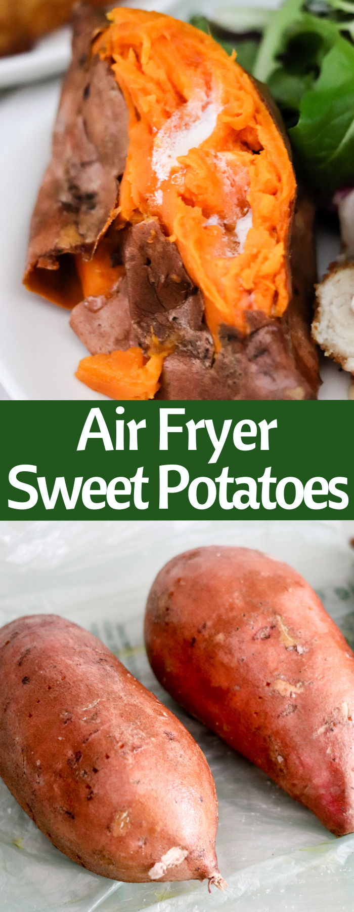 Easy Air Fryer Sweet Potatoes are the perfect side dish. Pair with Barber Foods® Cordon Bleu Stuffed Chicken Breasts and you have a simple delicious dinner!