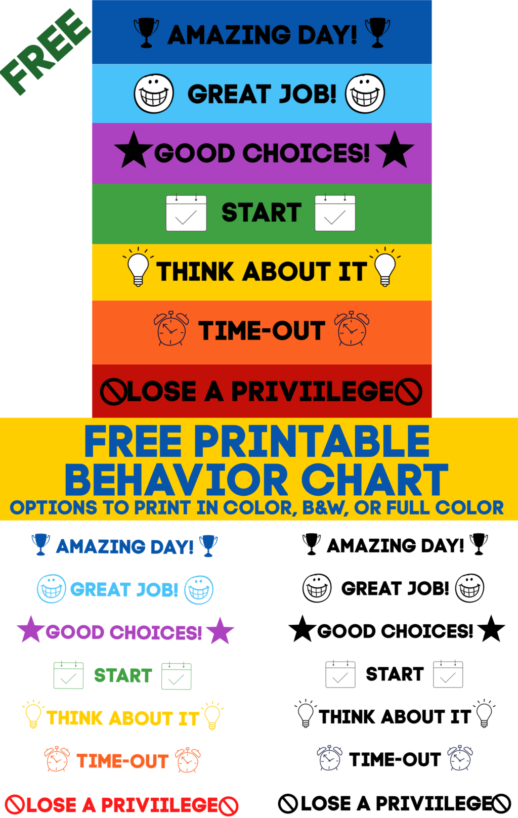 This printable behavior chart will help the kids stay on track and be mindful of their behavior. This chart is encouraging for kids to get to the top!
