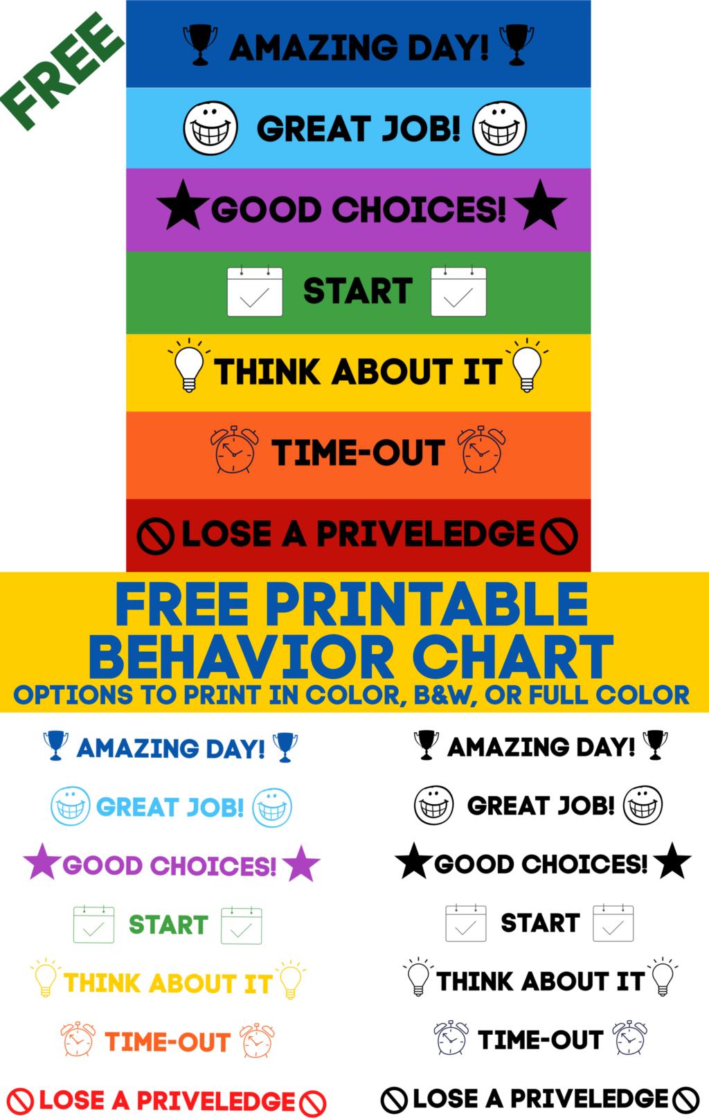 Printable Behavior Chart Free Download 10 More Free Printables Domestic Superhero