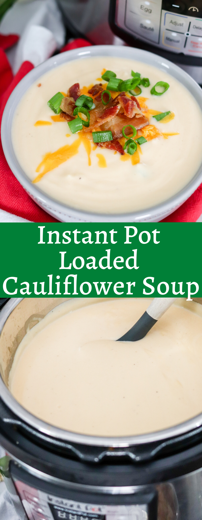 Creamy and delicious, Loaded Cauliflower soup is rich, hearty, and healthy! This low carb option is great for KETO, Atkins, South Beach or any diet! Only 212 calories and 11g carbs per serving! Also optional directions to cook on the stovetop!
