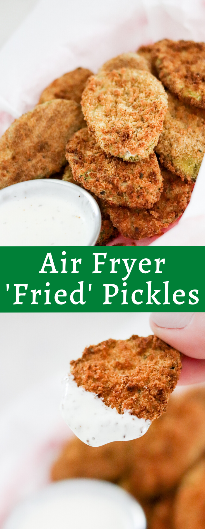 Making Fried Pickles in the Air fryer takes hardly any time and uses no oil like deep frying! Feel good about eating these healthier 'fried pickles'!