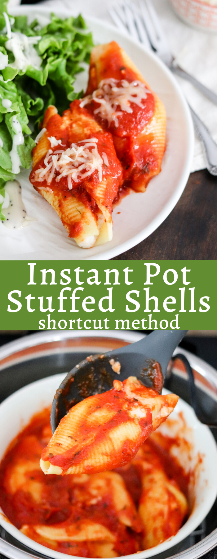 Instant Pot Stuffed Shells is a shortcut recipe using frozen stuffed shells that takes barely any time! This will become a busy weeknight staple in your weekly meal plan!