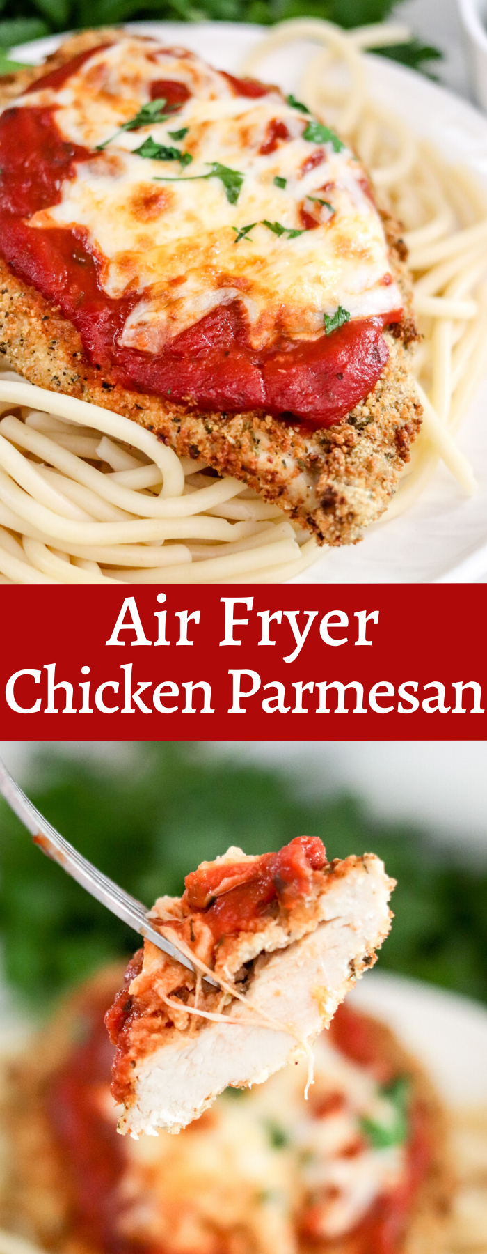 Air Fryer Chicken Parmesan is much healthier than the fried version. This meal is done in less than 15 minutes, and the chicken is moist and full of flavor!