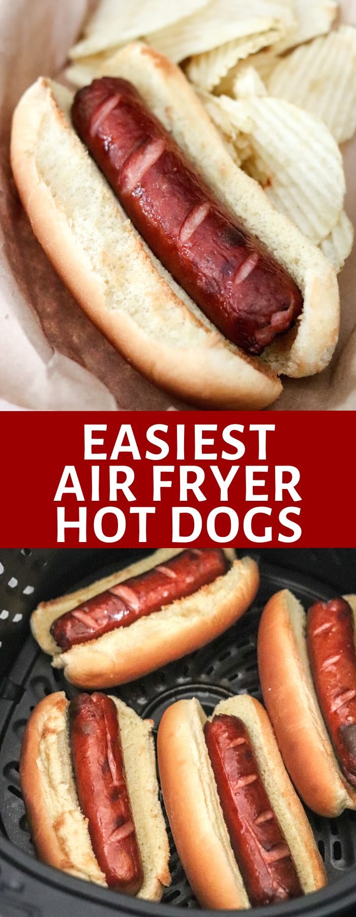 Cooking hot dogs has never been easier than in the Air Fryer! Air Fryer Hot Dogs are perfectly 'grilled' in no time and with hardly any effort!