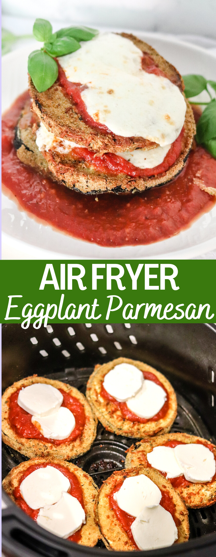 Making Eggplant Parmesan has never been easier than with the Air Fryer! Crispy on the outside and creamy on the inside, even the biggest meat eater will love this meatless meal!