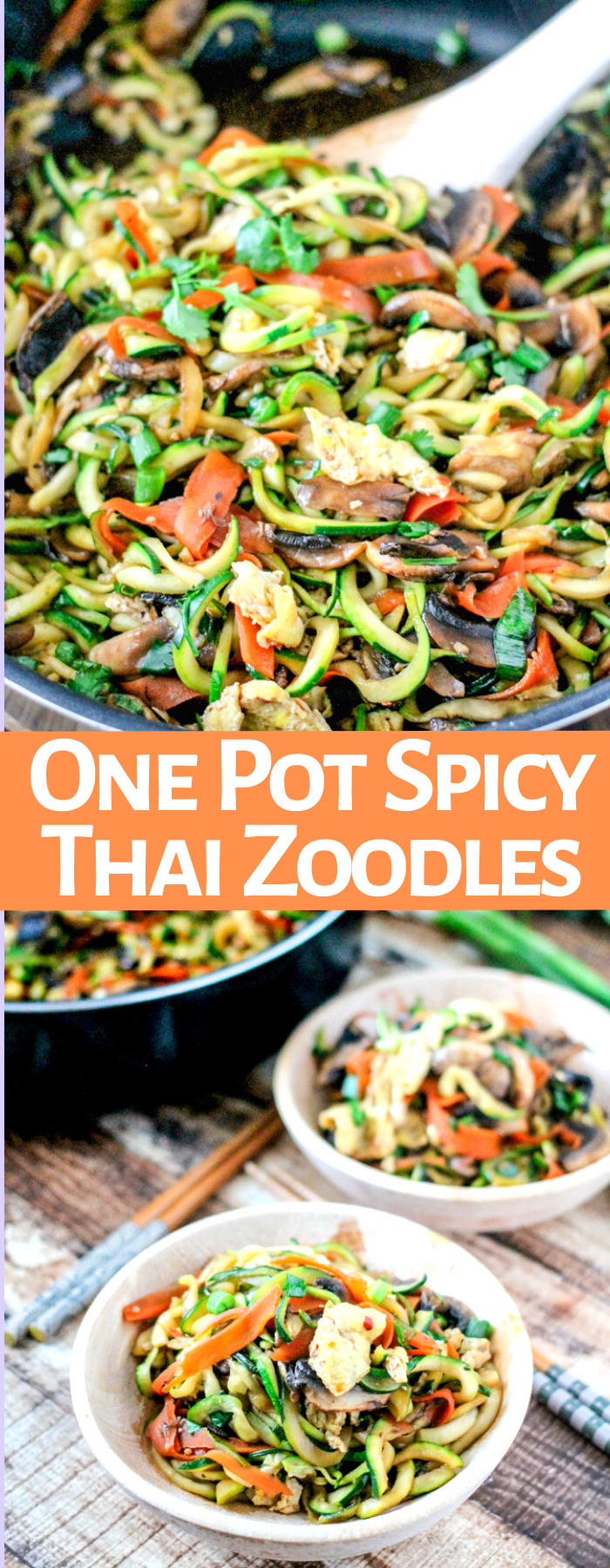 One Pot Spicy Thai Zoodles are the perfect healthy meal! Substitute zucchini noodles for pasta for only 162 calories PER SERVING! So amazing!