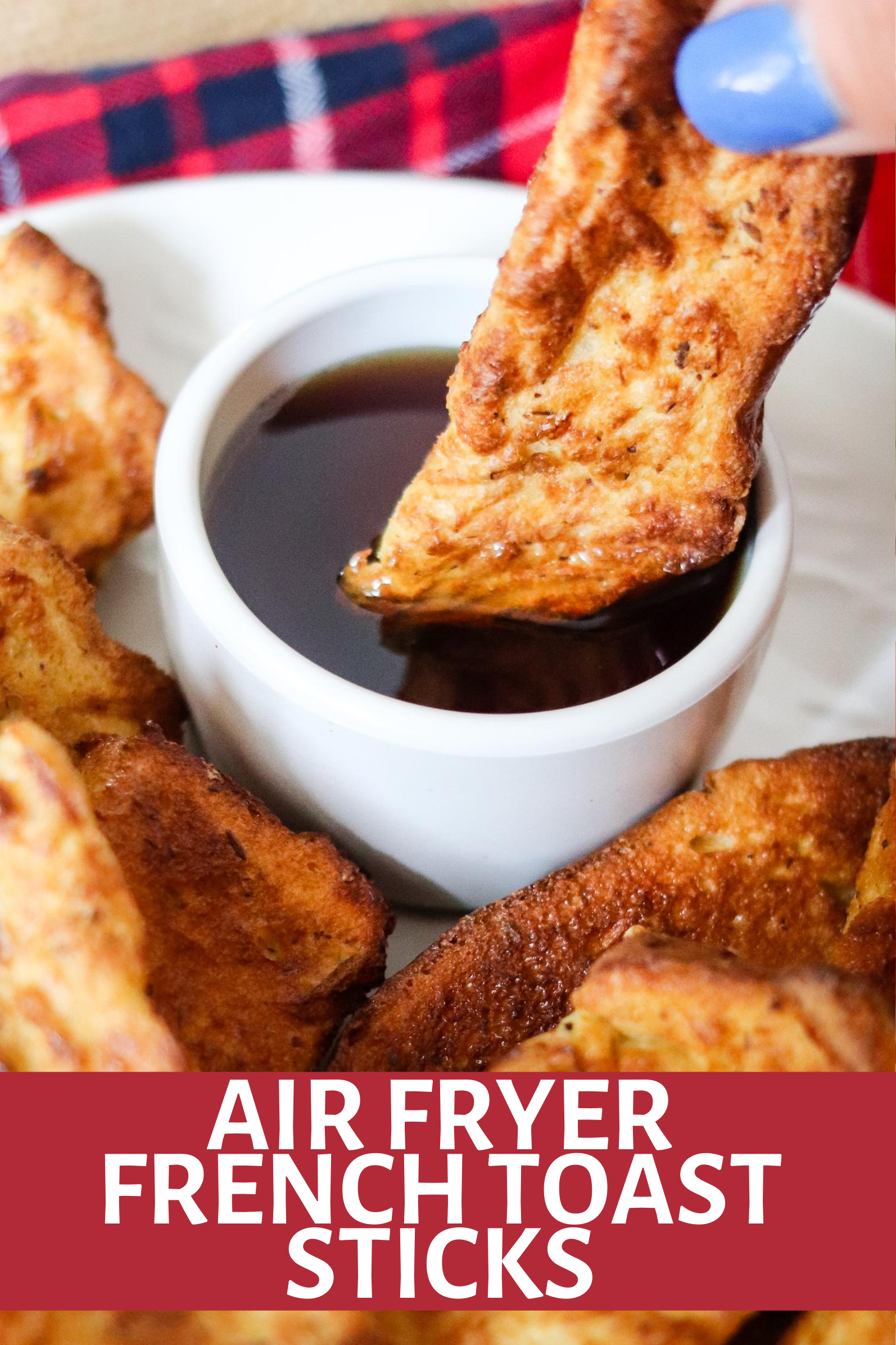 Homemade Air Fryer French Toast Sticks are so easy and delicious! Eat them fresh or freeze and reheat later for a quick breakfast! Directions for freezing and re-heating included!