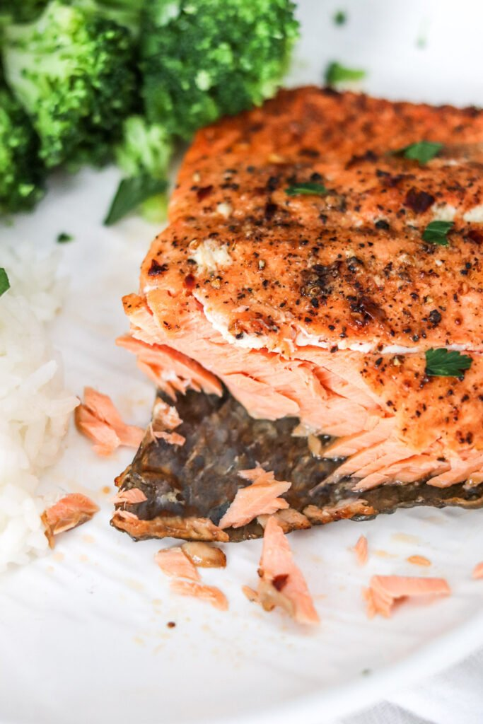 Up close air fryer salmon
