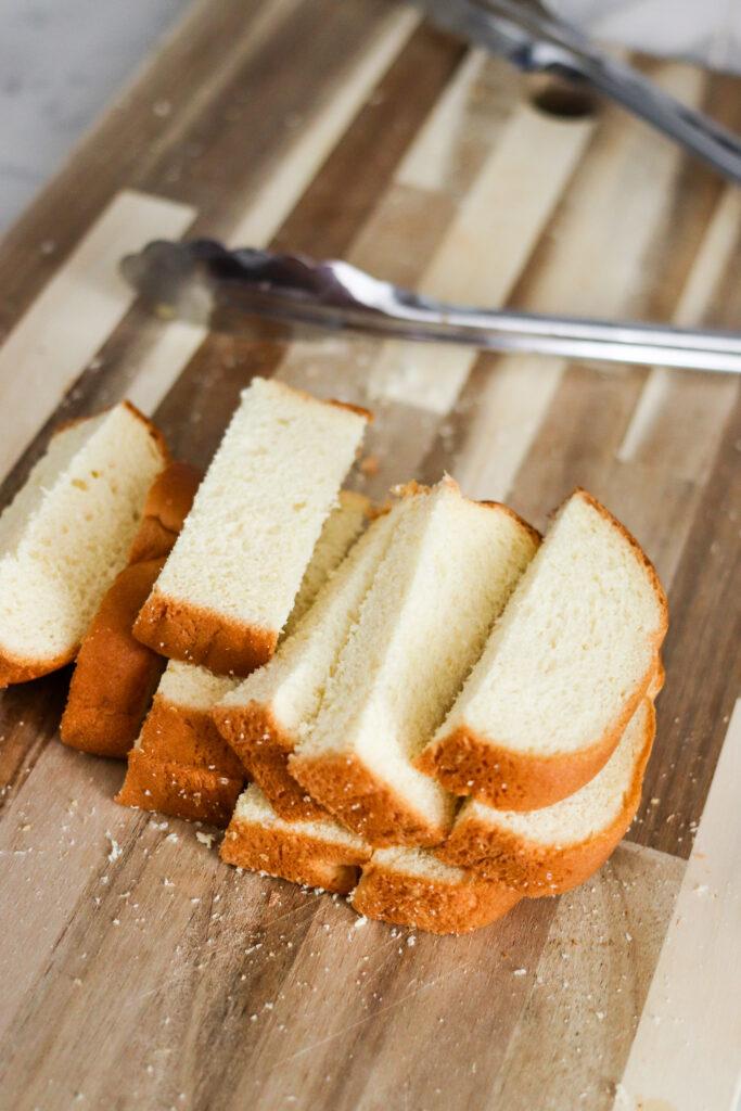 brioche bread siced for french toast sticks