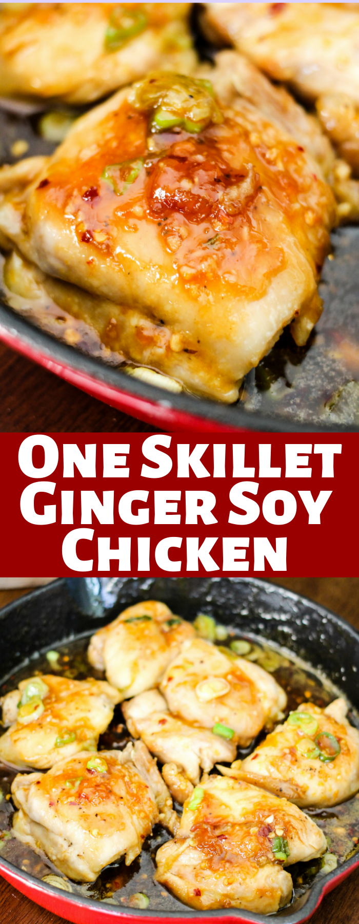 These Ginger Soy Chicken thighs are made in one skillet and simmered in the most delicious asian sauce. This 20 minute meal is perfect for dinner!