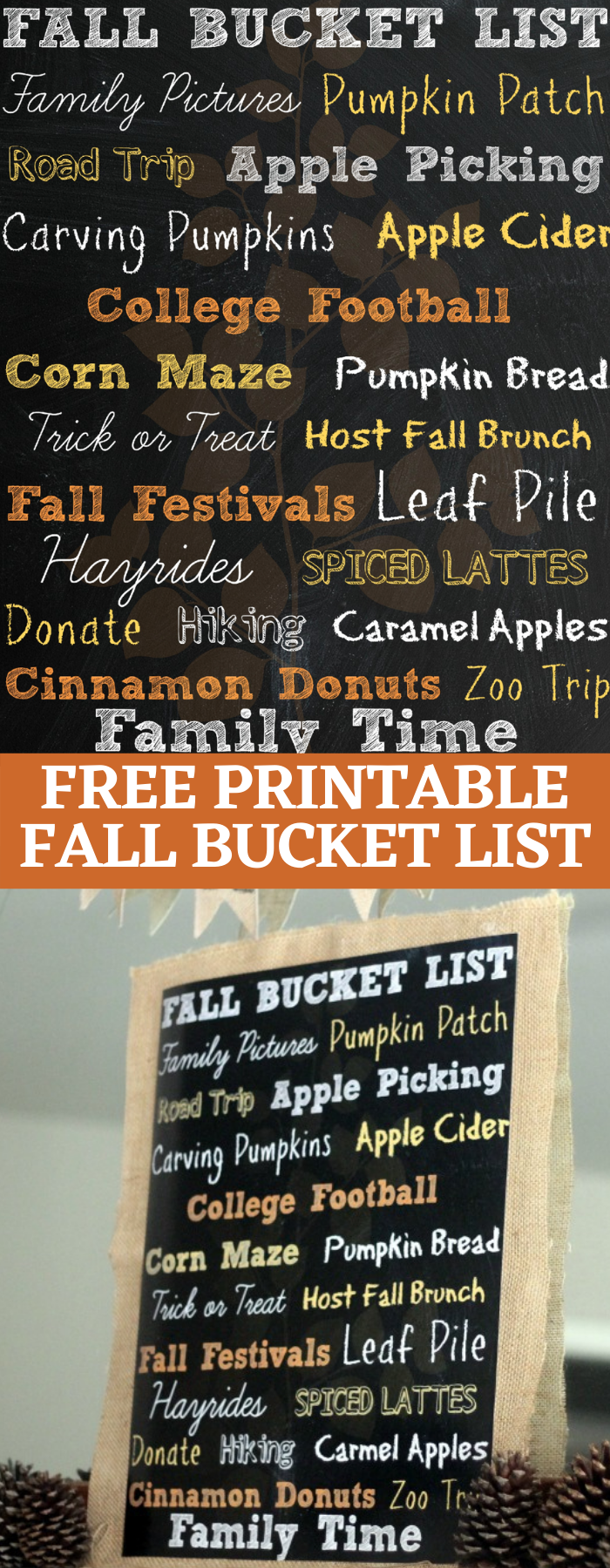 This FREE Printable Fall Bucket List will be the cutest fall decor in you house!