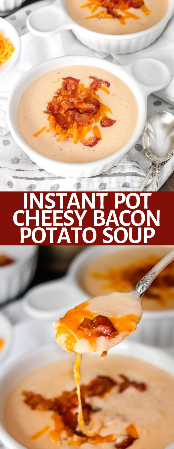 This hearty Instant Pot Potato Soup is a delicious comfort meal. The soup is the perfect mix of potatoes, bacon, and cheese. In just a few minutes, dinner is served! With directions for the instant pot and slow cooker- this is great!