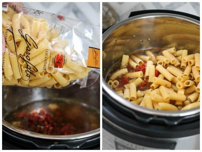 making tuscan chicken pasta