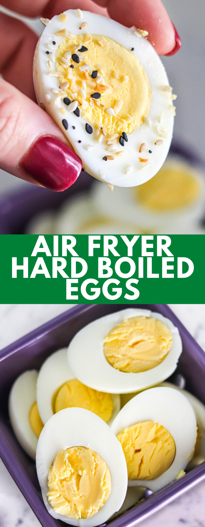 Making hard boiled eggs in the air fryer is quick and easy. No boiling water, no green ring, and they're easy to peel – these eggs are the BEST!