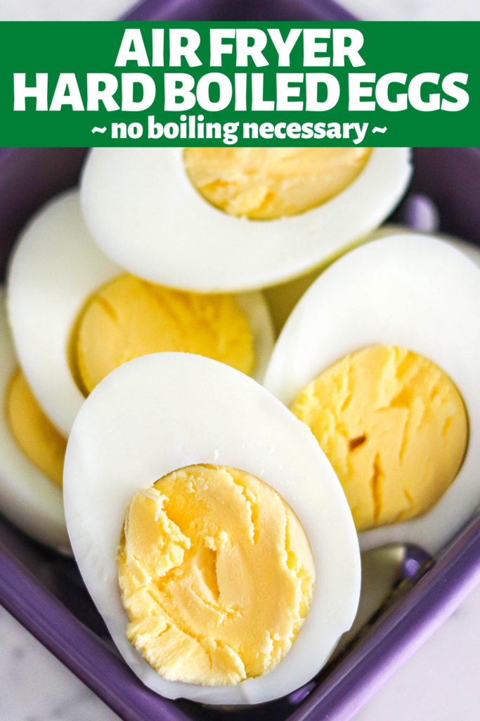 Making hard boiled eggs in the air fryer is quick and easy. No boiling water, no green ring, and they're easy to peel - these eggs are the BEST!