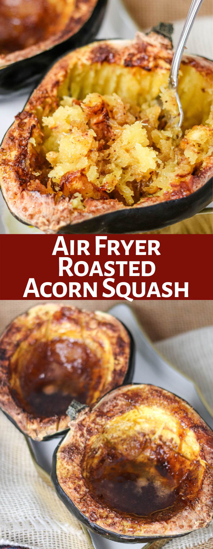 Air Fryer Acorn Squash is the perfect fall side dish or meal! It's hearty, delicious, and healthy, all while being super simple to cook in the air fryer!