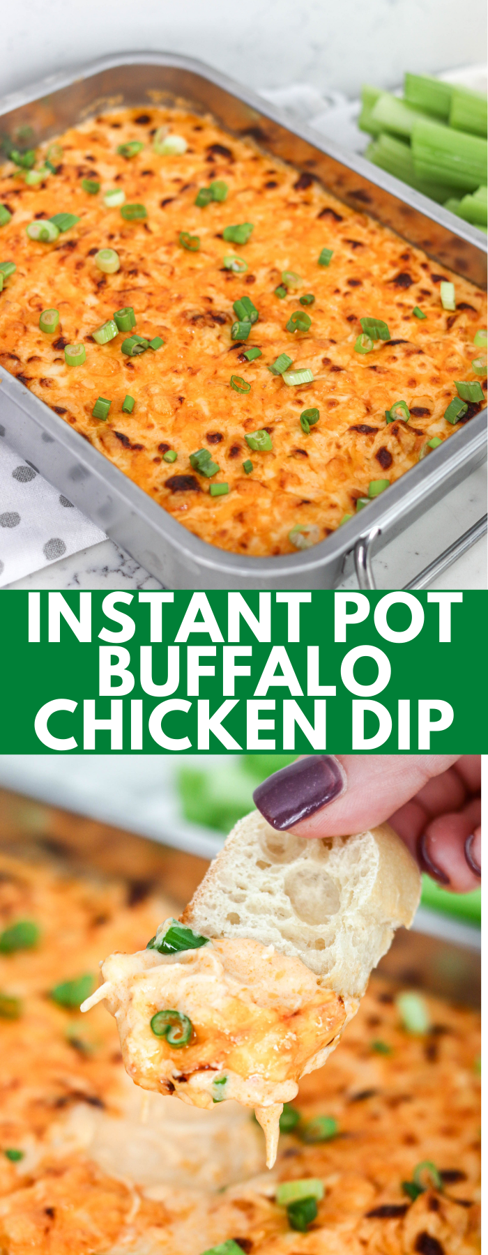 Instant Pot Buffalo Chicken Dip is quick, easy, super creamy, and delicious! With a kick of spice and loaded with cheese, it'll be a go-to party appetizer!