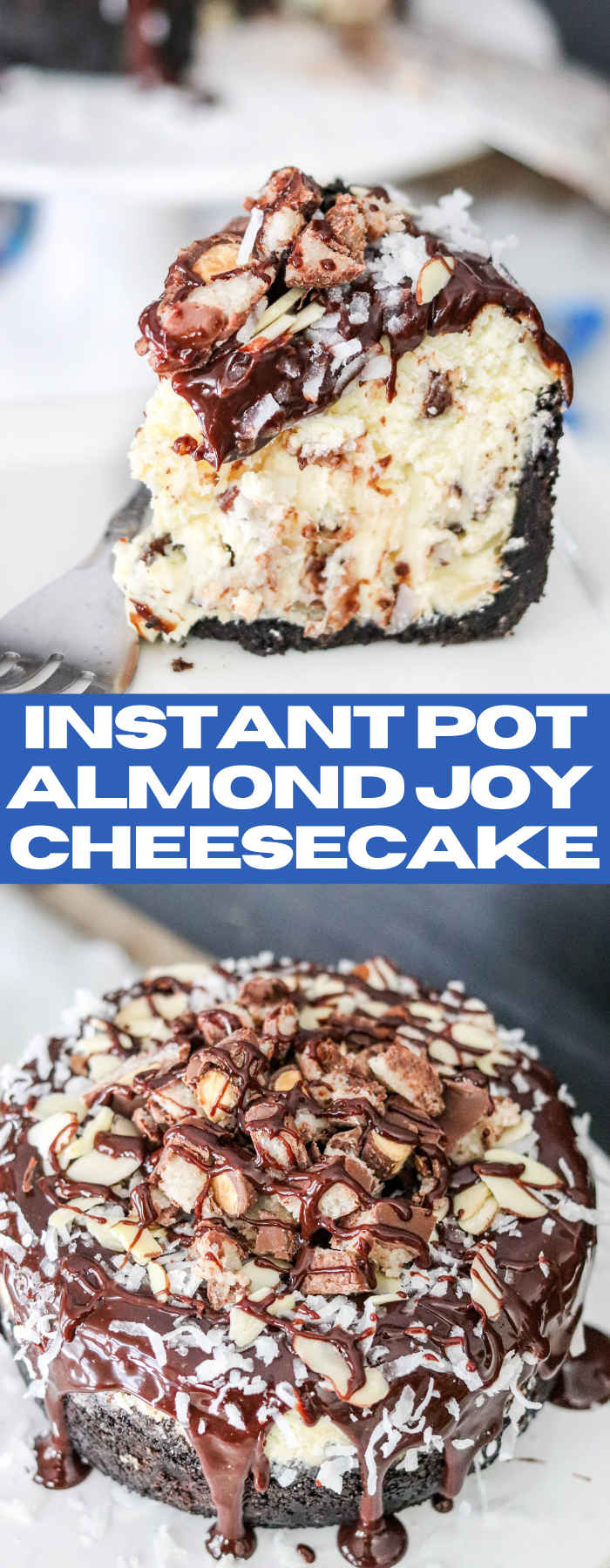 Instant Pot Almond Joy Cheesecake is a flavor packed dessert! Packed with almonds, coconut, and chocolate, this is an Almond Joy lover's dream!