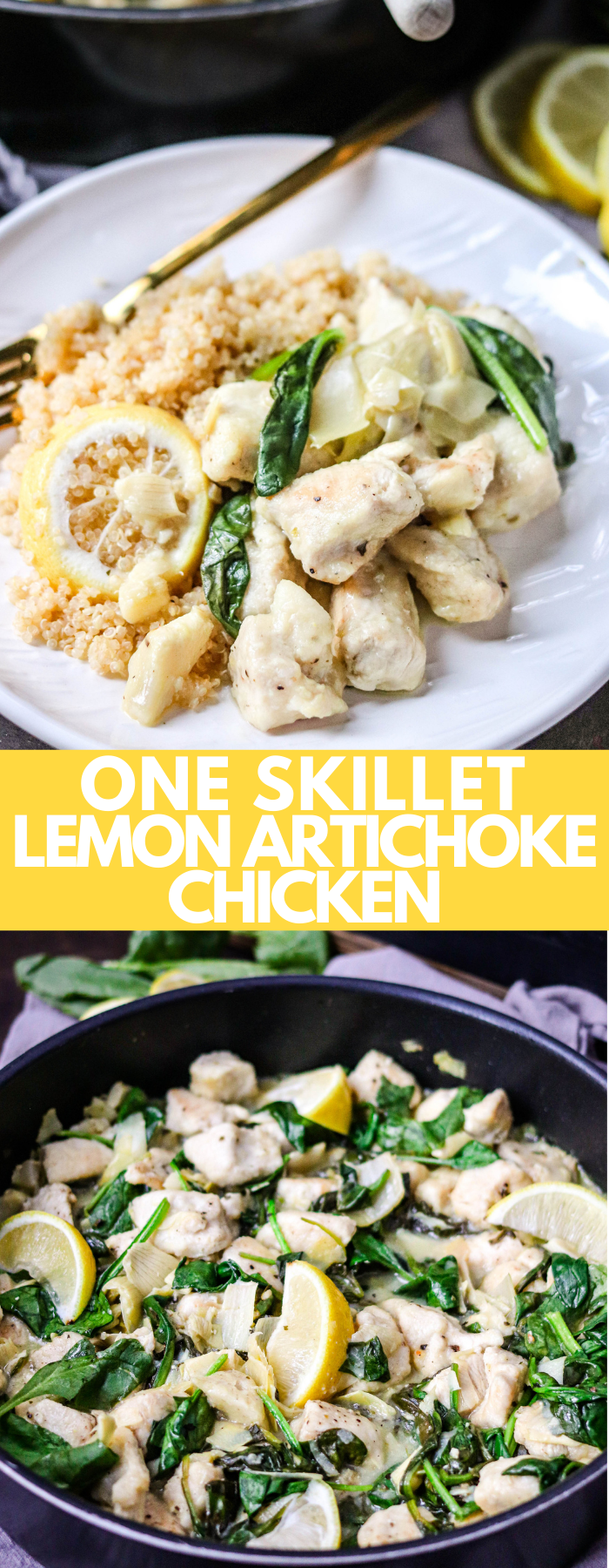 This One Skillet Lemon Artichoke Chicken is a delicious meal that takes little effort but delivers big flavors! This is a healthy and easy dinner! Fits into LOW CARB, KETO, WEIGHT WATCHERS, PALEO, WHOLE30, and many other diet with only 195 calories, 4g fat, 11g carbs, and 26g protein per serving!