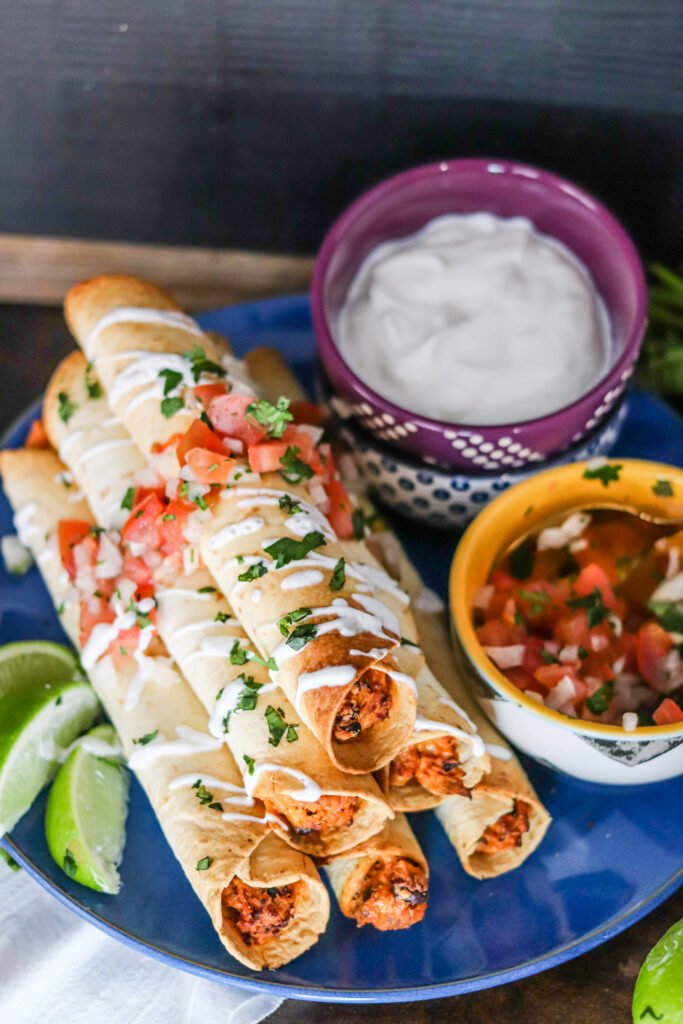 Air Fryer Chicken Taquitos are perfectly crispy without any of the added oil from frying! They're delicious, easy, and make the perfect quick meal or snack!